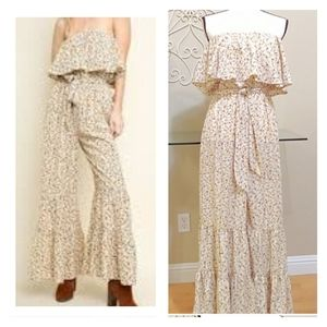 NEW Umgee Strapless Floral Jumpsuit